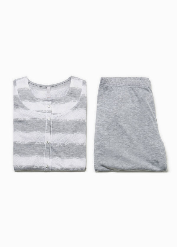 Striped top and trousers pyjama set | OVS