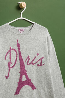 100% cotton oversized pullover with embroidery., Light Grey, hi-res