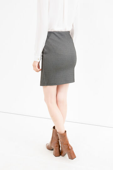 Stretch skirt with geometric pattern, White/Black, hi-res