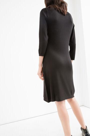 Solid colour viscose blend dress, Black, hi-res