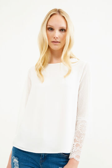 Stretch blouse with lace sleeves, Milky White, hi-res
