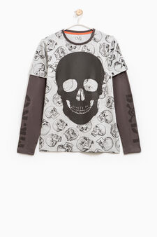 T-shirt cotone fantasia teschi, Grigio melange, hi-res