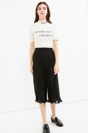 Solid colour pleated Gaucho trousers, Black, hi-res