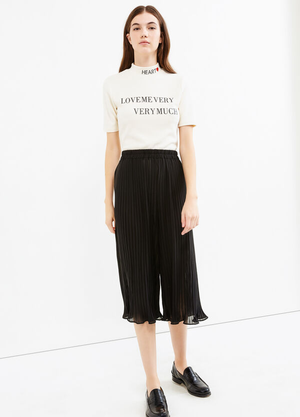 Solid colour pleated Gaucho trousers | OVS