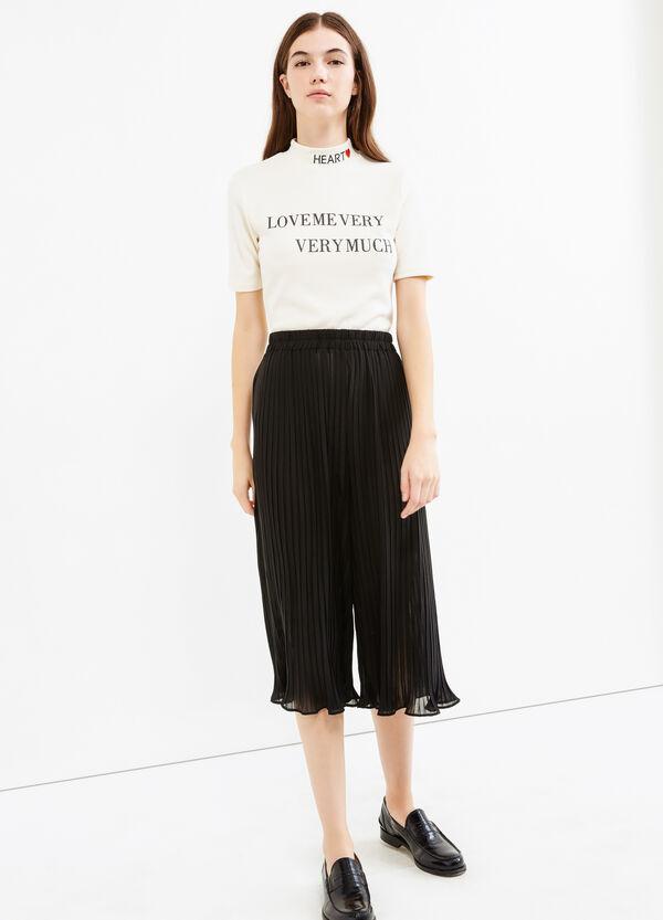 Pantalón culotte plisado en color liso | OVS