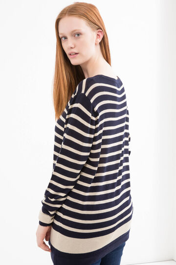 Curvy striped cardigan in viscose, Blue/Brown, hi-res