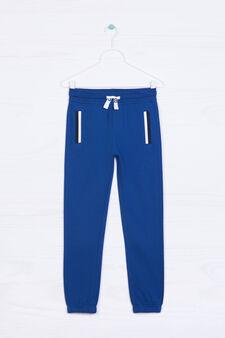 Pantaloni con coulisse cotone, Blu elettrico, hi-res