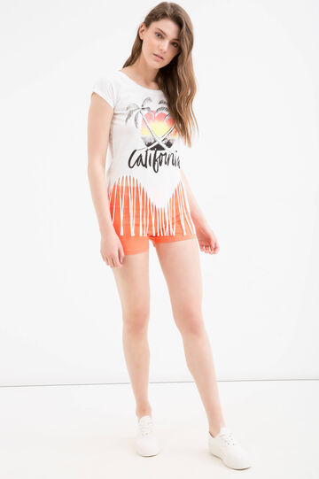 Cotton T-shirt with fringe by Maui and Sons, White, hi-res