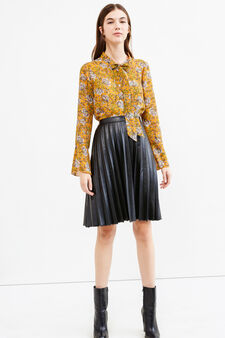 Blouse with long bell-bottom sleeves, Yellow, hi-res