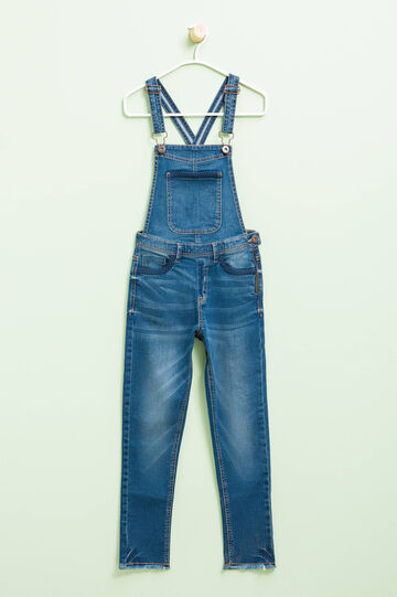 Used-effect stretch denim dungarees, Medium Wash, hi-res