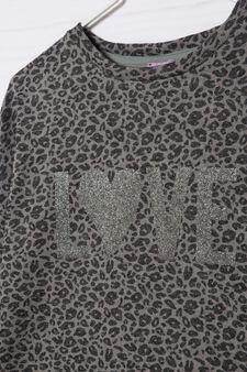 Glitter print patterned pullover, Grey, hi-res
