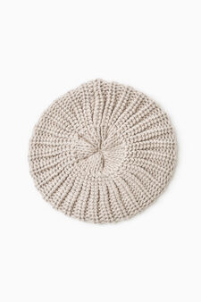 Knitted beanie cap, Chalk White, hi-res
