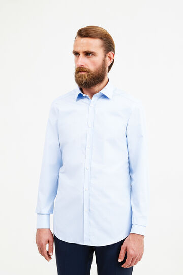 Slim-fit patterned formal shirt, Soft Blue, hi-res