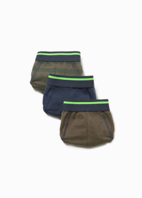 Three-pack cotton solid colour and striped briefs | OVS