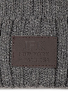 Knitted beanie cap, Grey Marl, hi-res