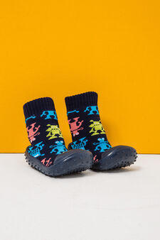 Sock slippers with monster pattern, Navy Blue, hi-res