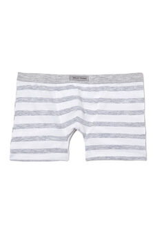Striped stretch jersey boxer shorts., White/Grey, hi-res