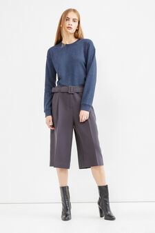 Gaucho trousers with belt, Dark Grey, hi-res