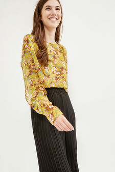 Shirt with boat neck, Yellow, hi-res