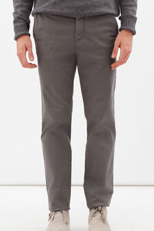 Stretch cotton trousers with crease, Grey, hi-res