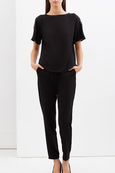Crepe blouse with small studs, Black, hi-res