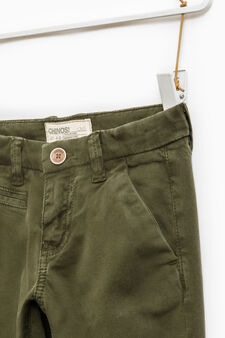 Solid colour stretch chino trousers, Moss Green, hi-res