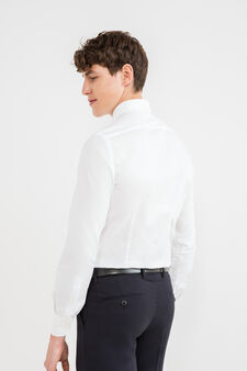 Solid colour, slim-fit, cotton formal shirt, White, hi-res