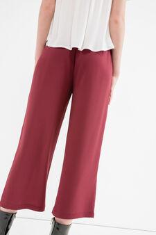 Pantaloni crop stretch tinta unita, Nero, hi-res