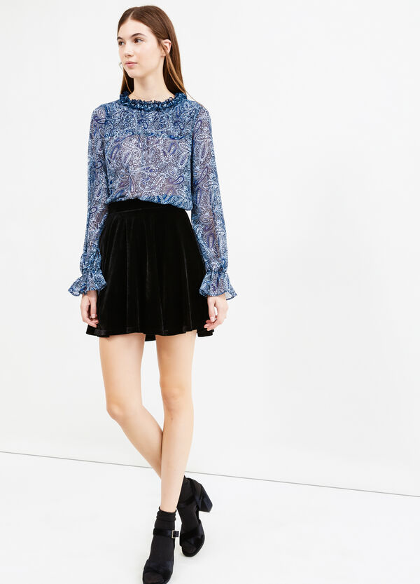 High-waisted velvet mini skirt | OVS