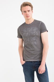 100% cotton T-shirt with printed lettering, Grey, hi-res
