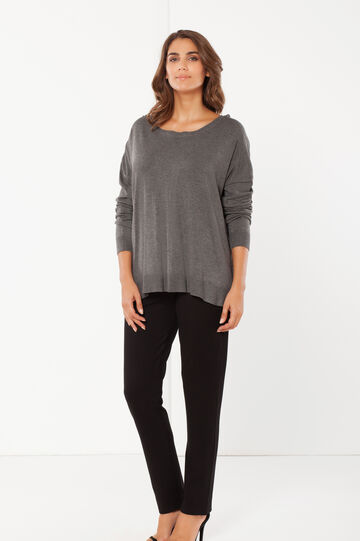 Curvy long-sleeved T-shirt, Grey/Silver, hi-res