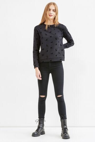 Round neck cotton sweatshirt with print, Black, hi-res