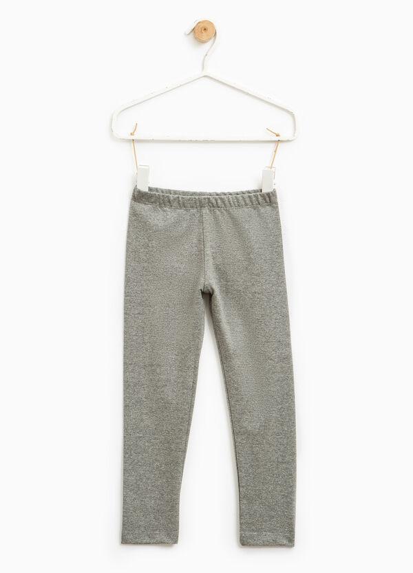 Micro striped stretch cotton leggings | OVS