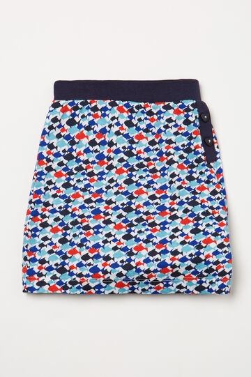 Pyjama shorts in patterned cotton, White, hi-res