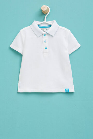 100% cotton polo shirt with patches, White, hi-res
