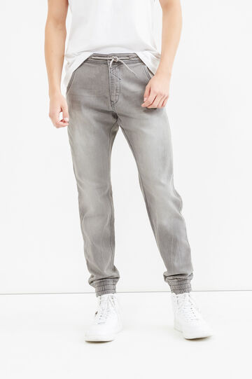 Loose-fit stretch jeans with drawstring waist, Grey, hi-res