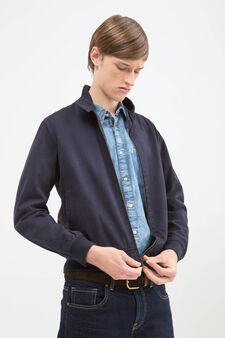 Solid colour jacket in 100% cotton, Navy Blue, hi-res