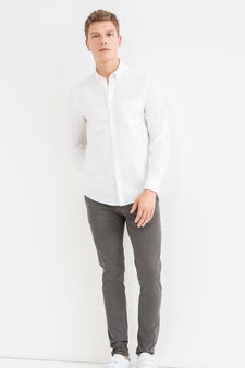 Slim-fit casual shirt with button down collar, White, hi-res