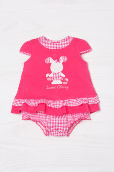 Patterned playsuit in 100% cotton, Coral Pink, hi-res