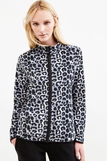 Fleece sweatshirt with animal pattern, Black/Grey, hi-res