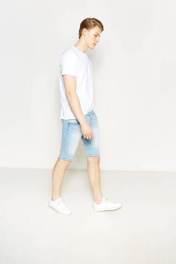 Skinny-fit stretch denim Bermuda shorts