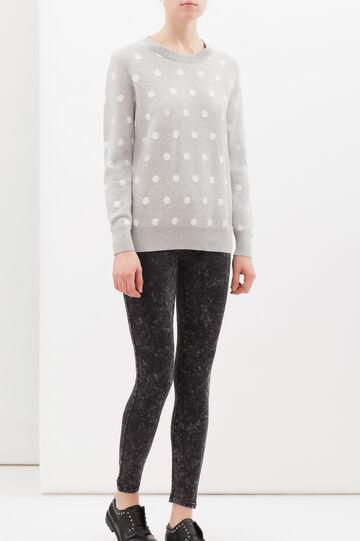 Polka dot cotton blend sweatshirt, Light Grey, hi-res