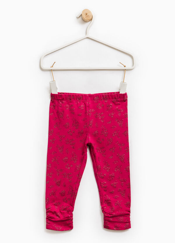 Stretch cotton leggings with glitter print | OVS
