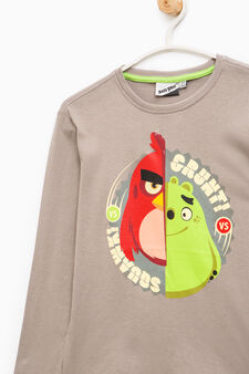 Cotton T-shirt with Angry Birds print, Light Grey, hi-res