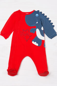 100% cotton onesie with dinosaur patch, Red, hi-res