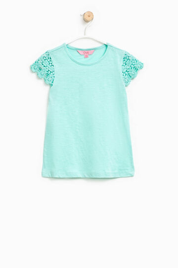 T-shirt with lace sleeves, Turquoise Blue, hi-res