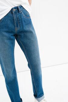 Jeans straight fit con risvolto delavati, Lavaggio medio, hi-res