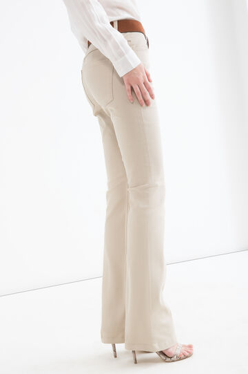 Solid colour stretch bell-bottom jeans, Sand, hi-res