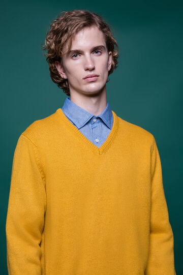V-neck knit pullover, Mustard Yellow, hi-res