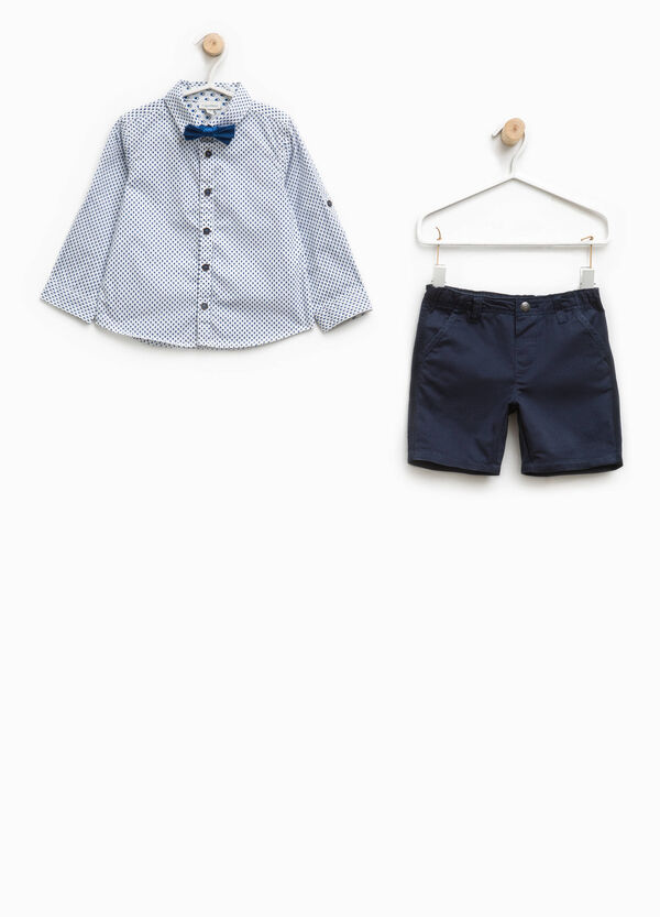 Shirt with patterned inserts and Bermuda shorts set | OVS